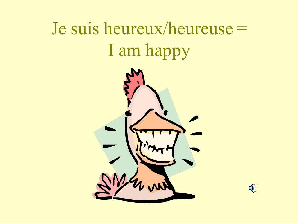 Je suis heureux/heureuse = I am happy