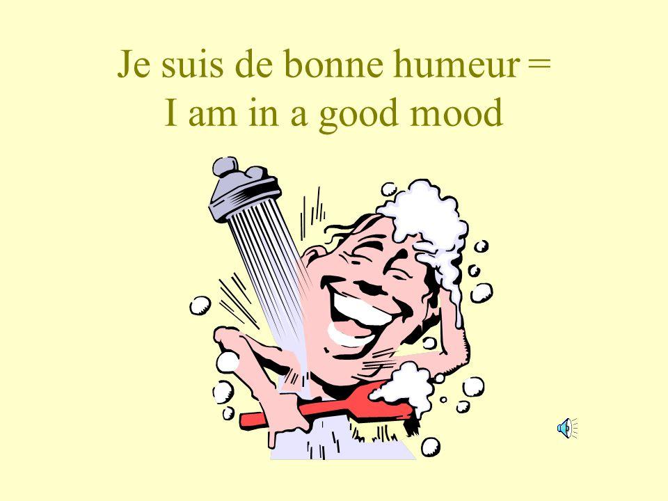 Je suis de bonne humeur = I am in a good mood