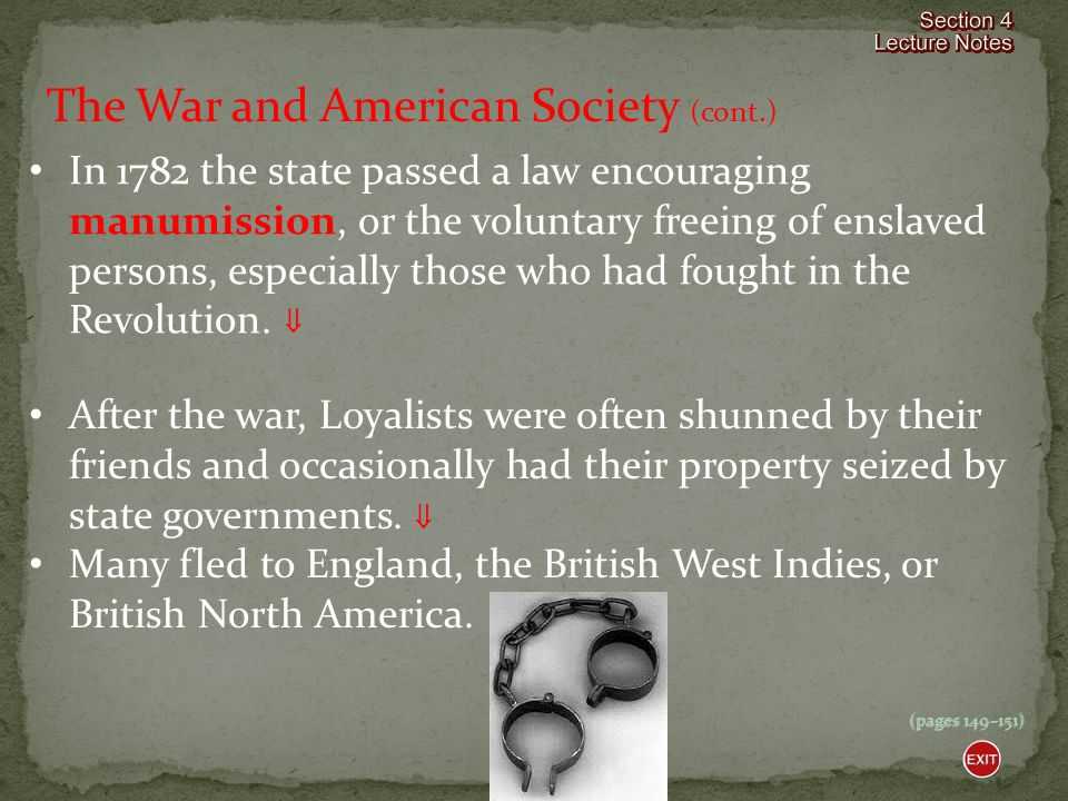 The War and American Society (cont.)