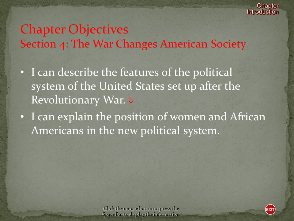 Chapter Objectives Section 4: The War Changes American Society