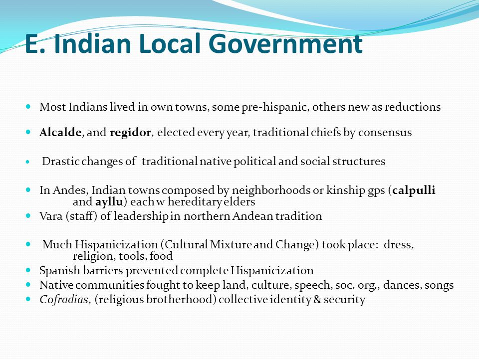 E. Indian Local Government