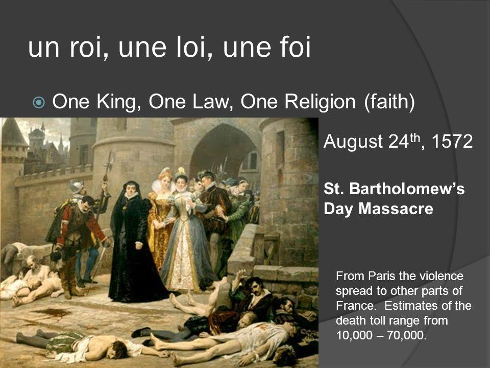 un roi, une loi, une foi One King, One Law, One Religion (faith)