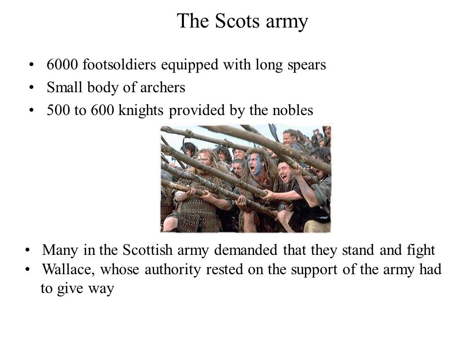 The Scots army 6000 footsoldiers equipped with long spears