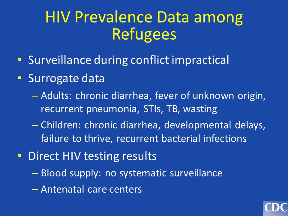 HIV Prevalence Data among Refugees