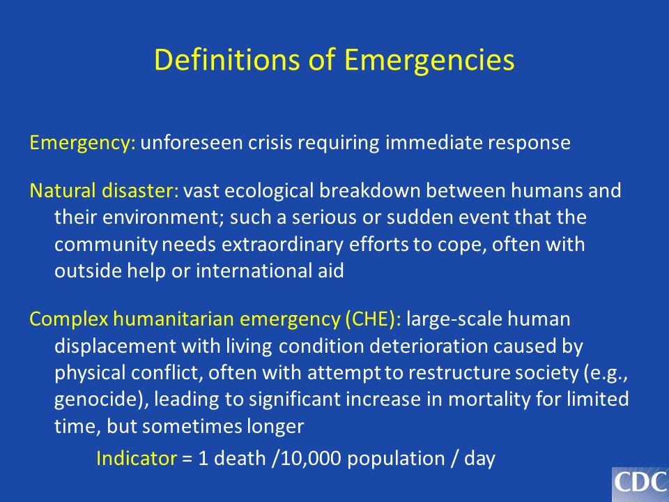 Definitions of Emergencies