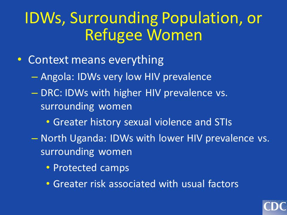 IDWs, Surrounding Population, or Refugee Women