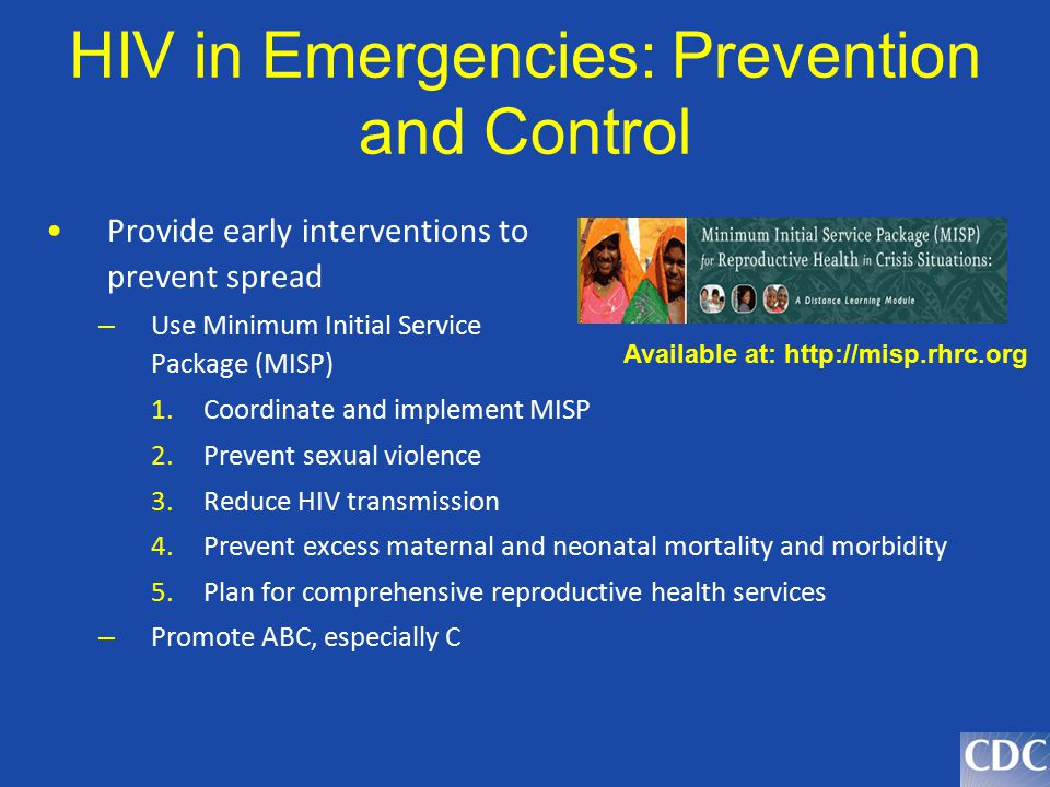 HIV in Emergencies: Prevention and Control