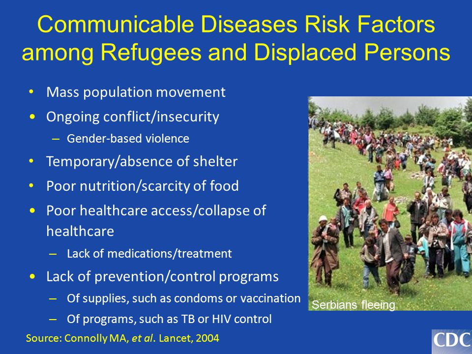 Communicable Diseases Risk Factors among Refugees and Displaced Persons