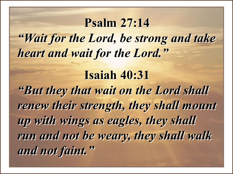Psalm 27:14 Wait for the Lord, be strong and take heart and wait for the Lord. Isaiah 40:31.