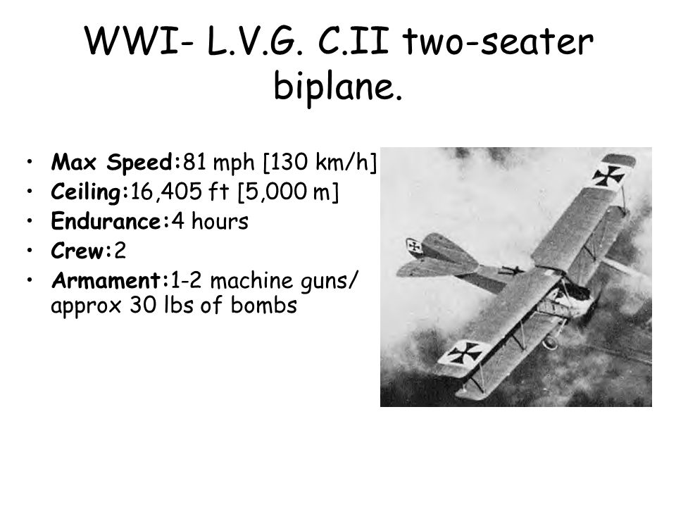 WWI- L.V.G. C.II two-seater biplane.