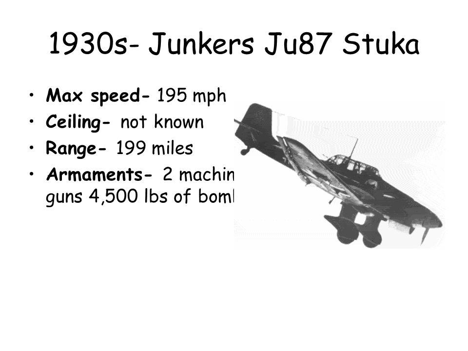 1930s- Junkers Ju87 Stuka Max speed- 195 mph Ceiling- not known