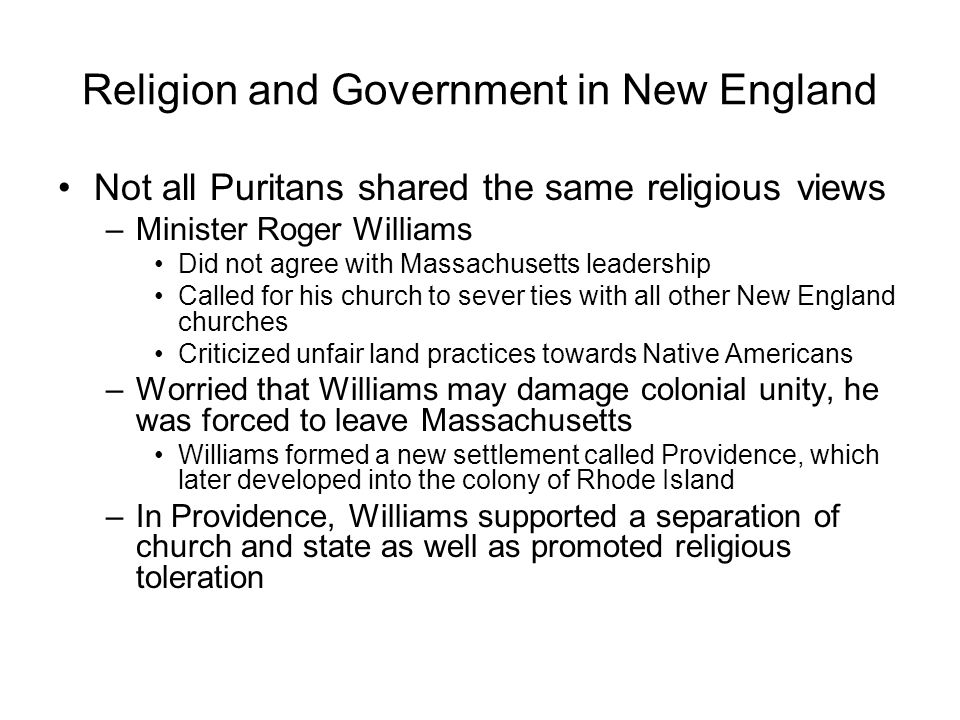 Religion and Government in New England
