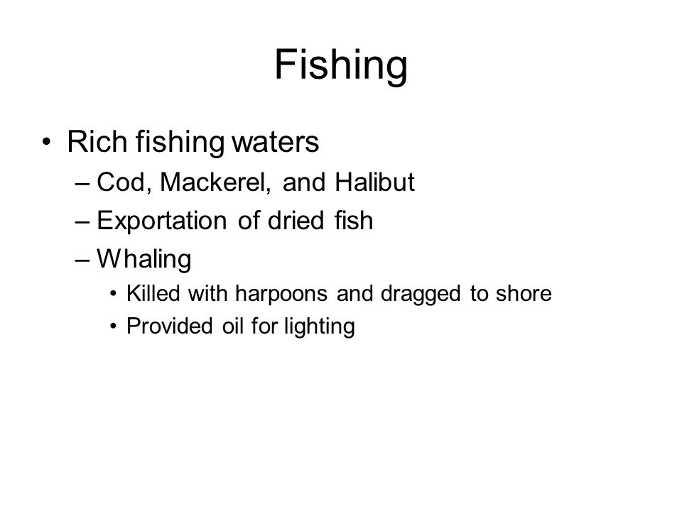 Fishing Rich fishing waters Cod, Mackerel, and Halibut