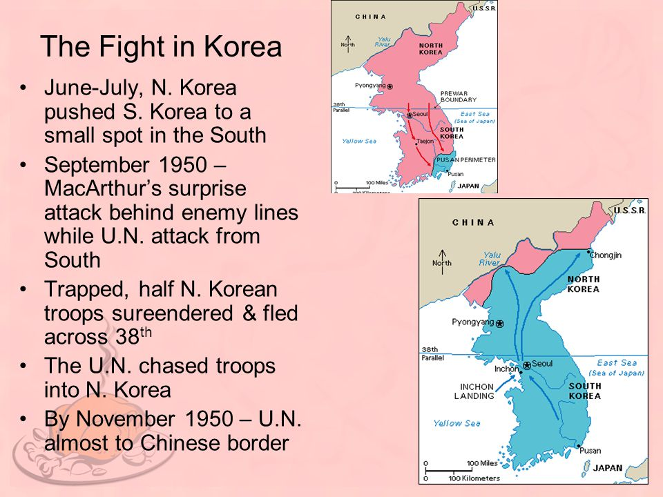 The Fight in Korea June-July, N. Korea pushed S. Korea to a small spot in the South.
