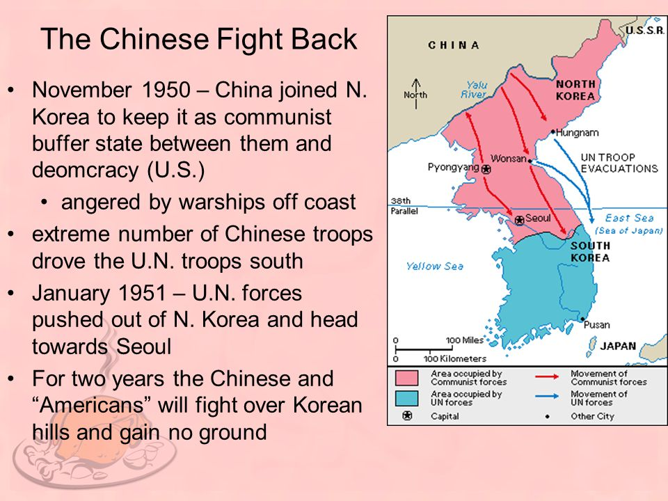 The Chinese Fight Back November 1950 – China joined N. Korea to keep it as communist buffer state between them and deomcracy (U.S.)
