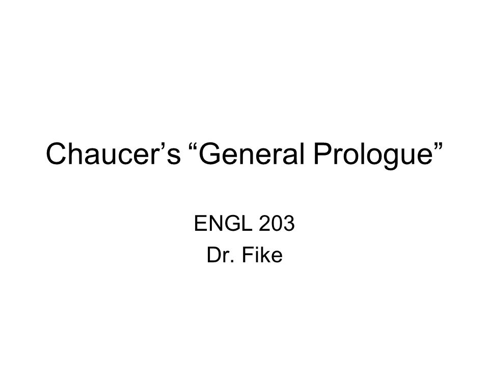 Chaucer's General Prologue