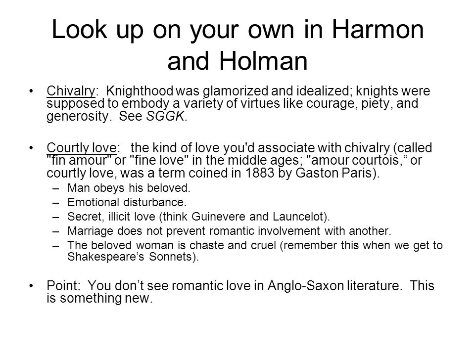 Look up on your own in Harmon and Holman