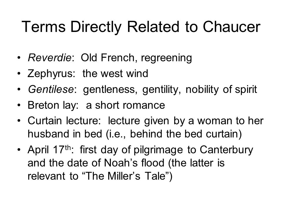 Terms Directly Related to Chaucer
