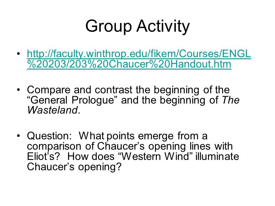 Group Activity http://faculty.winthrop.edu/fikem/Courses/ENGL%20203/203%20Chaucer%20Handout.htm.