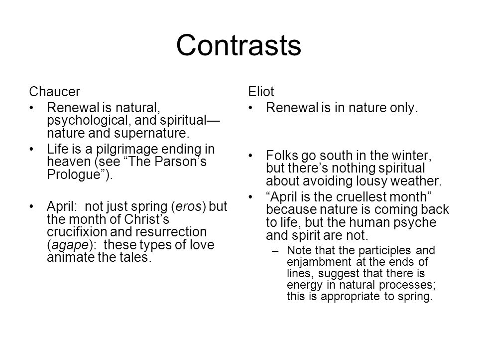 Contrasts Chaucer. Renewal is natural, psychological, and spiritual—nature and supernature.