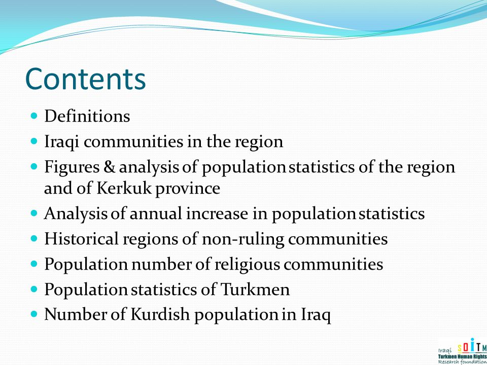 Contents Definitions Iraqi communities in the region