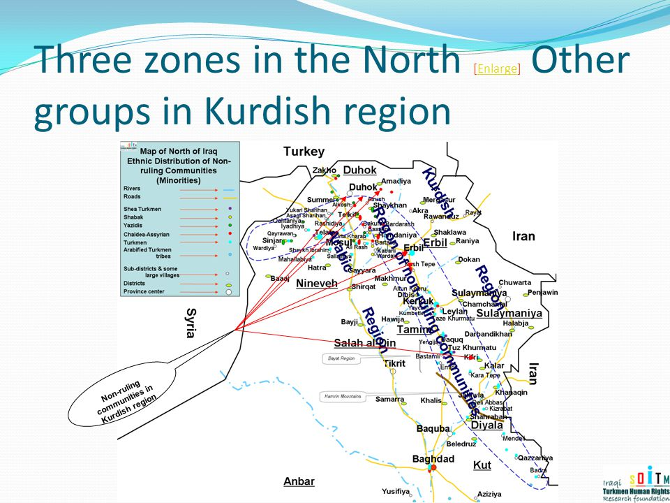 Three zones in the North [Enlarge] Other groups in Kurdish region
