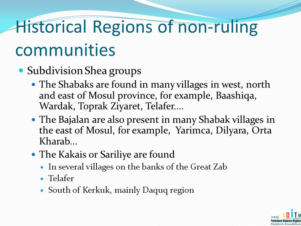 Historical Regions of non-ruling communities