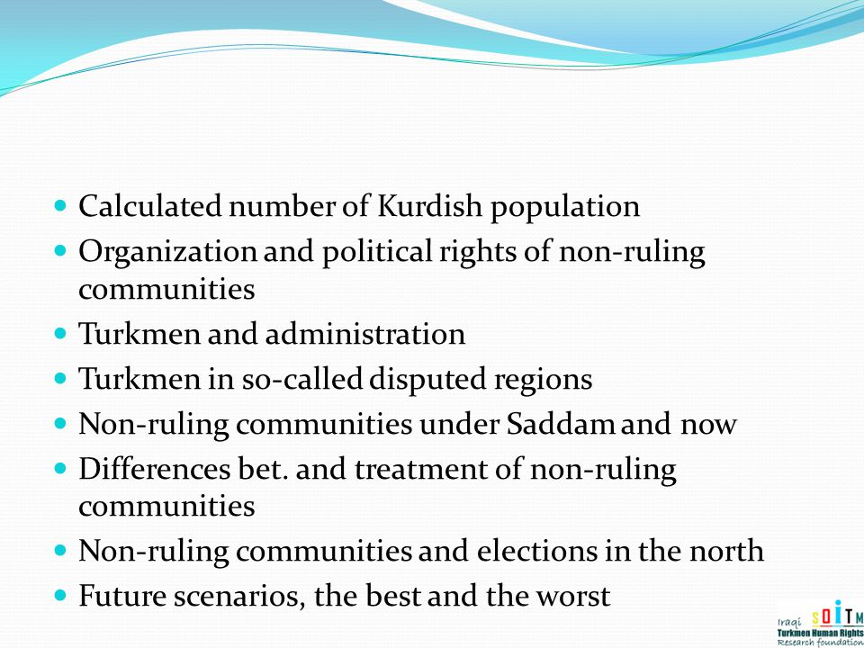 Calculated number of Kurdish population