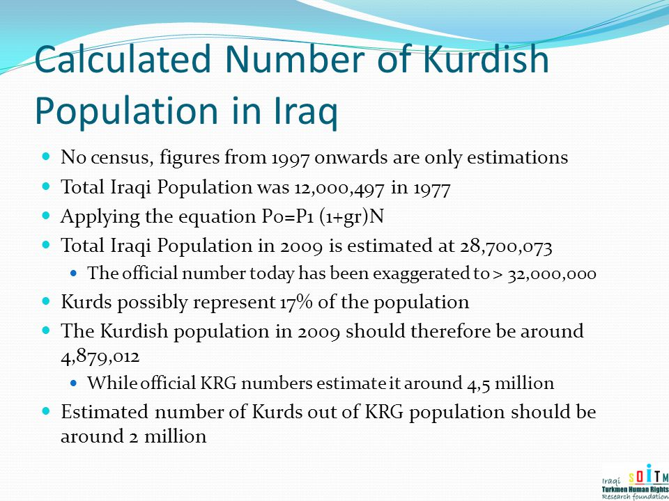 Calculated Number of Kurdish Population in Iraq