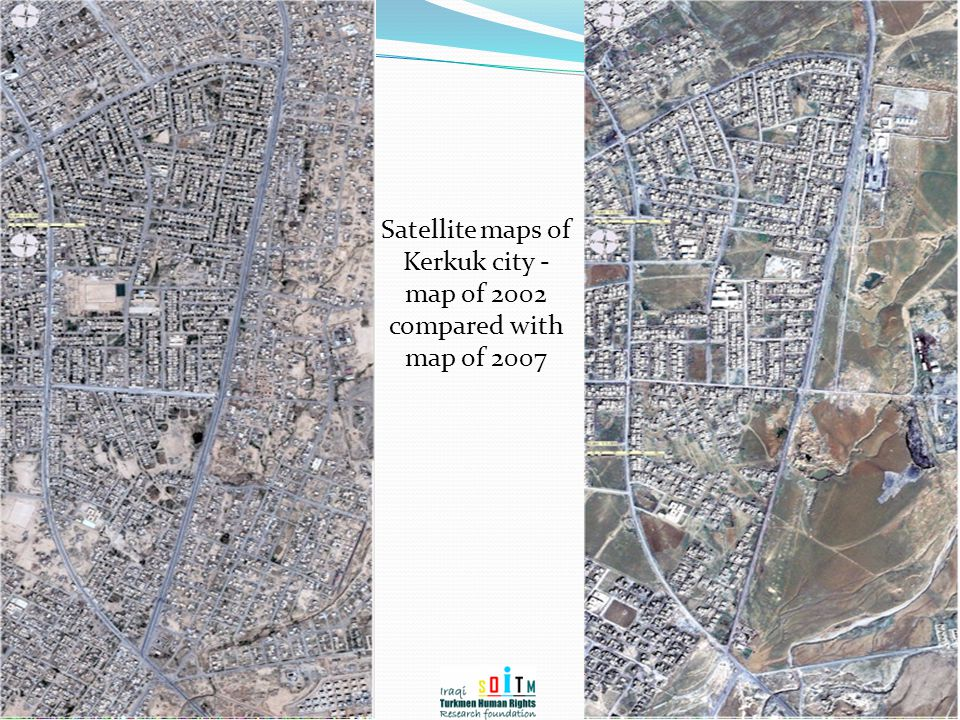 Satellite maps of Kerkuk city - map of 2002 compared with map of 2007