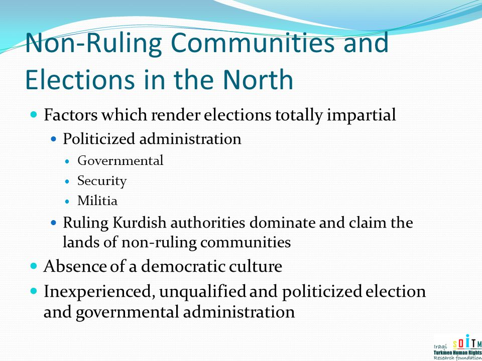 Non-Ruling Communities and Elections in the North
