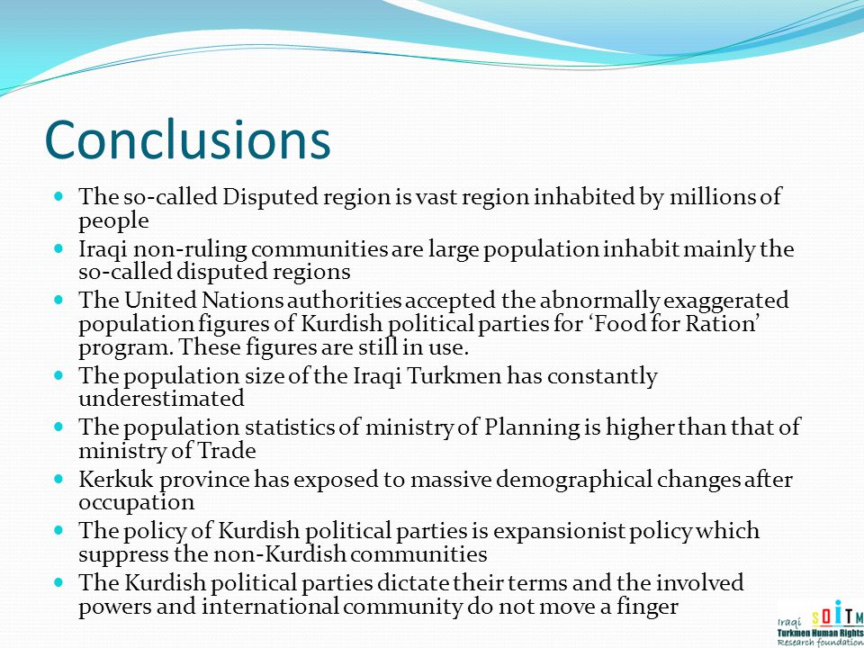 Conclusions The so-called Disputed region is vast region inhabited by millions of people.