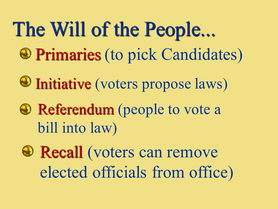 The Will of the People... Primaries (to pick Candidates)