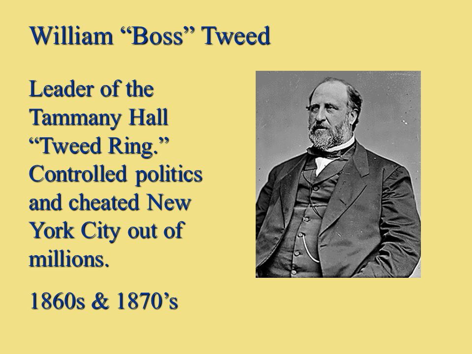 William Boss Tweed Leader of the Tammany Hall Tweed Ring. Controlled politics and cheated New York City out of millions.