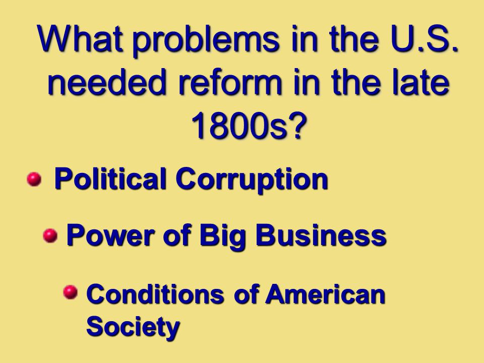What problems in the U.S. needed reform in the late 1800s