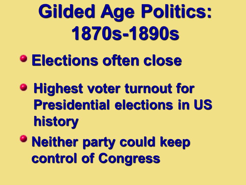 Gilded Age Politics: 1870s-1890s