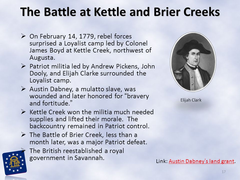 The Battle at Kettle and Brier Creeks