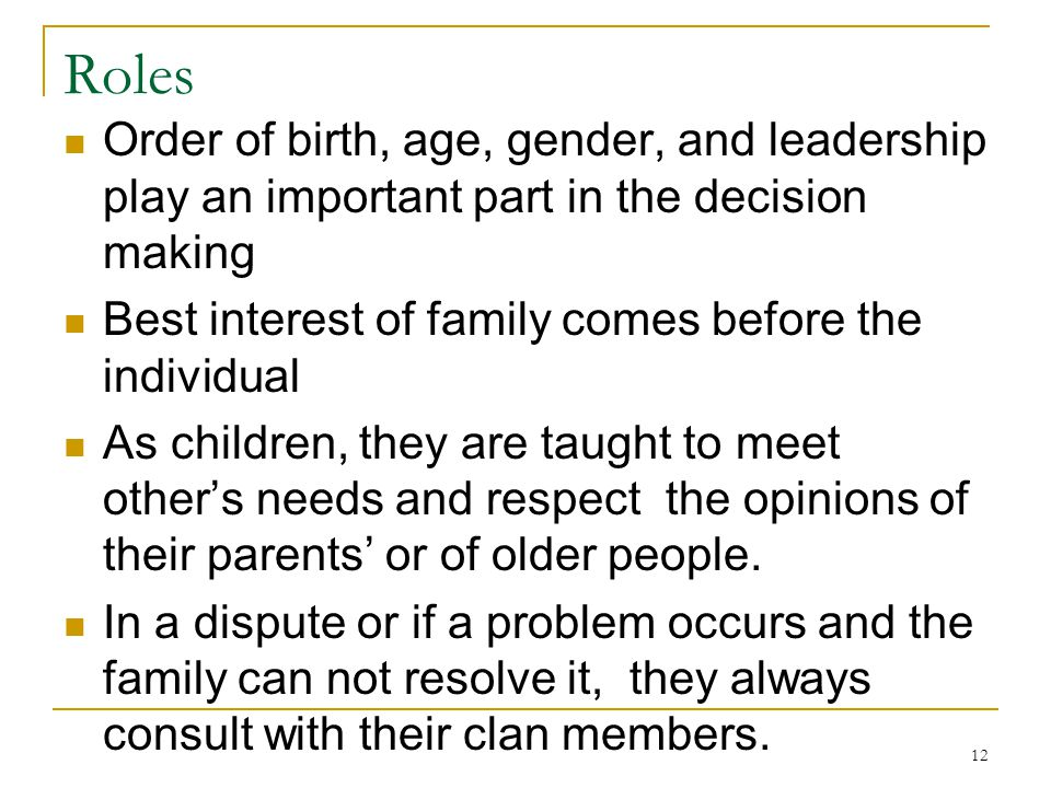 Roles Order of birth, age, gender, and leadership play an important part in the decision making. Best interest of family comes before the individual.
