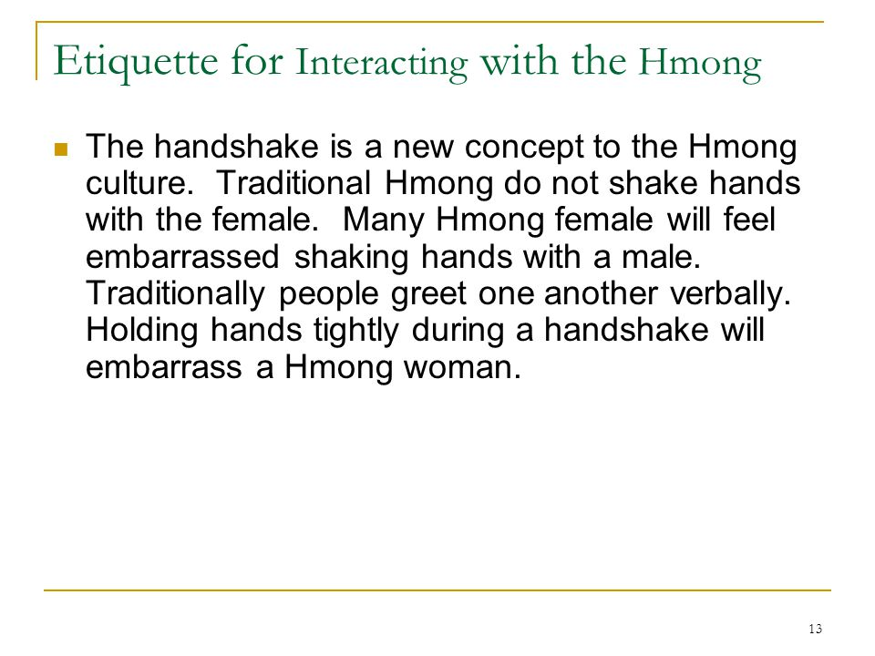 Etiquette for Interacting with the Hmong