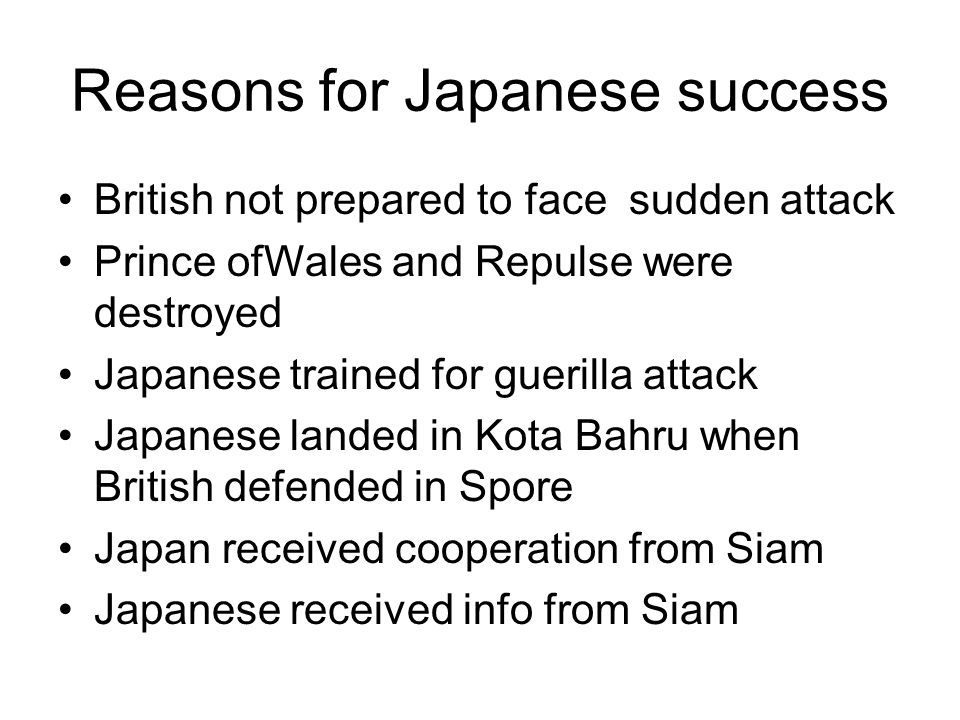 Reasons for Japanese success