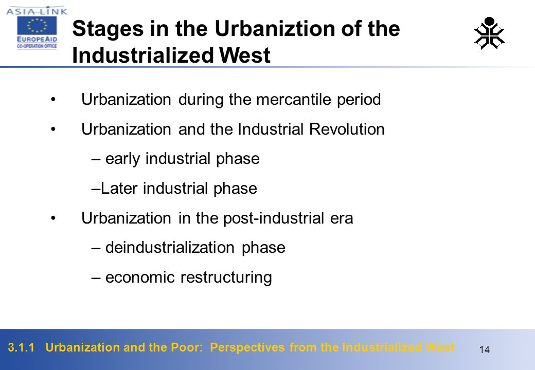 Stages in the Urbaniztion of the Industrialized West