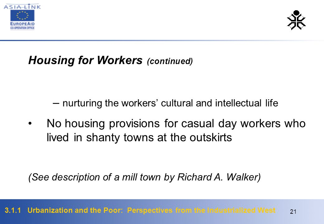 Housing for Workers (continued)