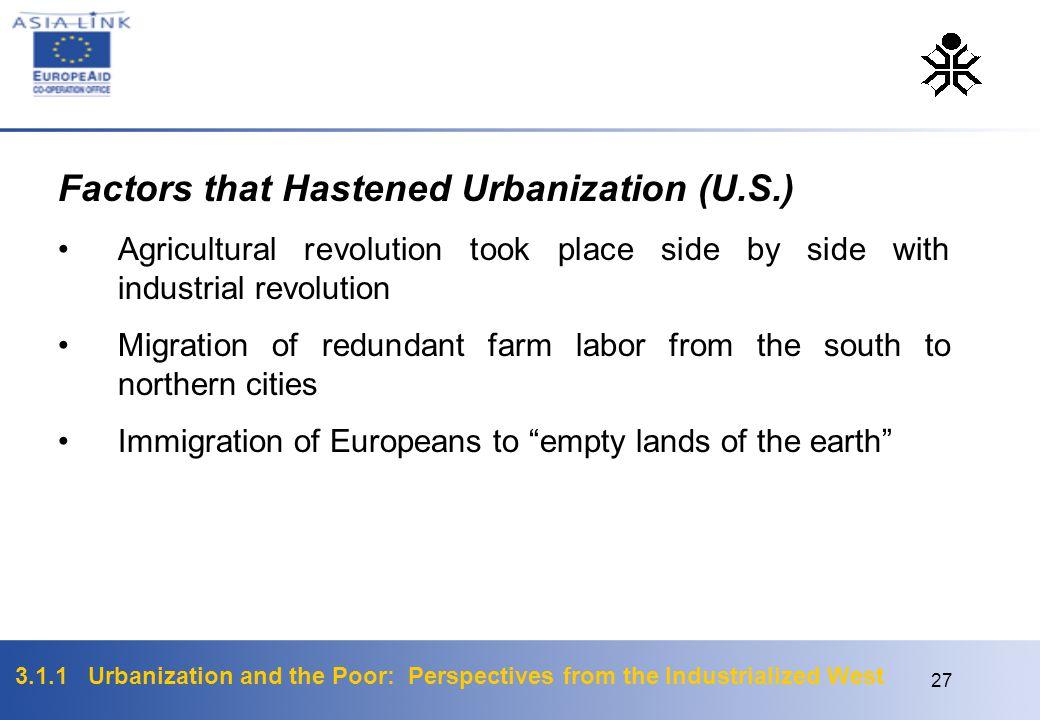 Factors that Hastened Urbanization (U.S.)