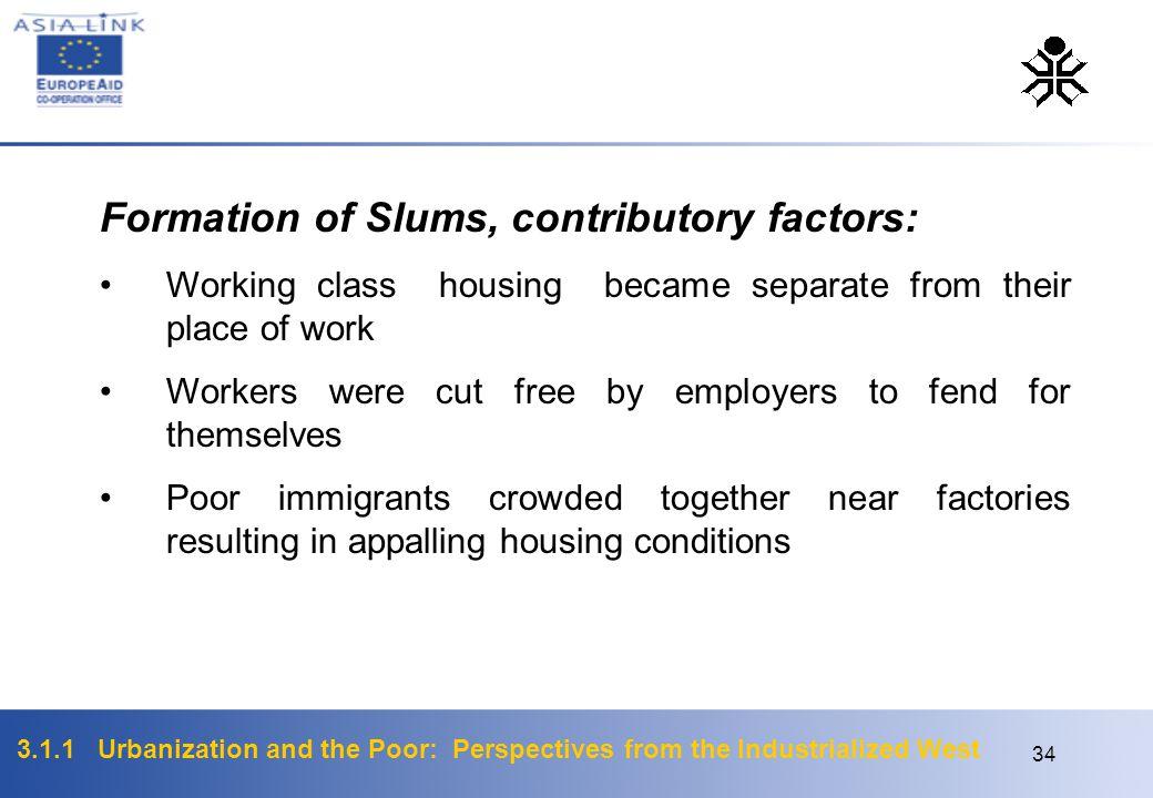 Formation of Slums, contributory factors: