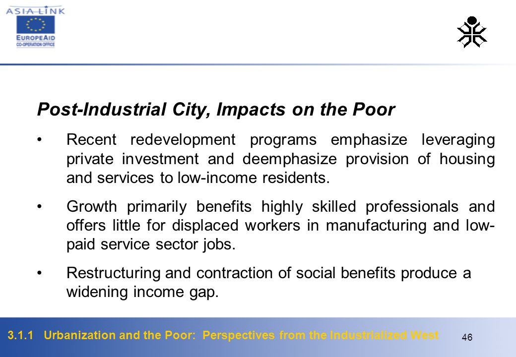 Post-Industrial City, Impacts on the Poor