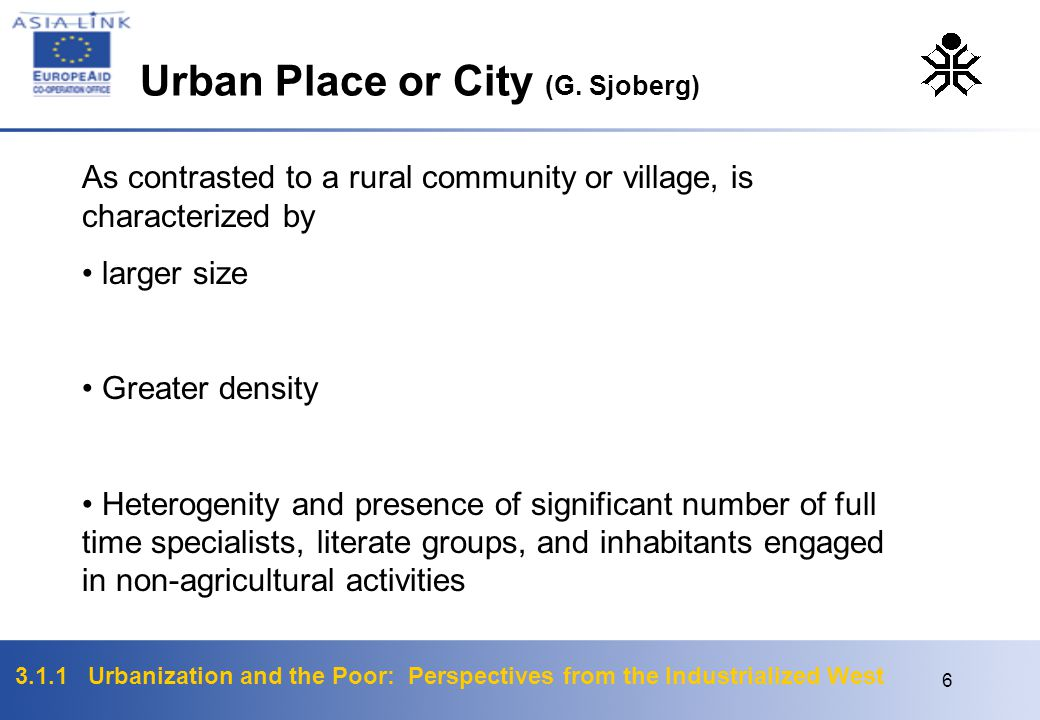 Urban Place or City (G. Sjoberg)