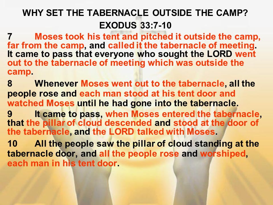 WHY SET THE TABERNACLE OUTSIDE THE CAMP