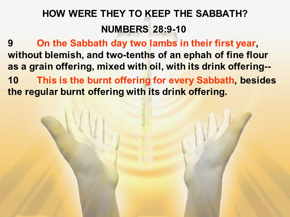 HOW WERE THEY TO KEEP THE SABBATH