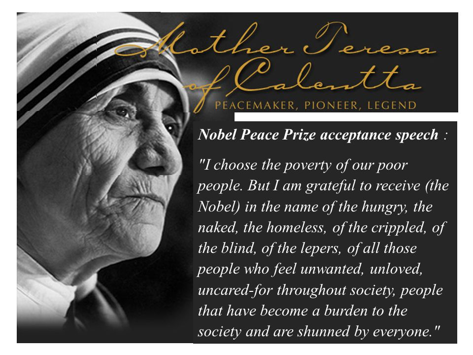 Nobel Peace Prize acceptance speech :