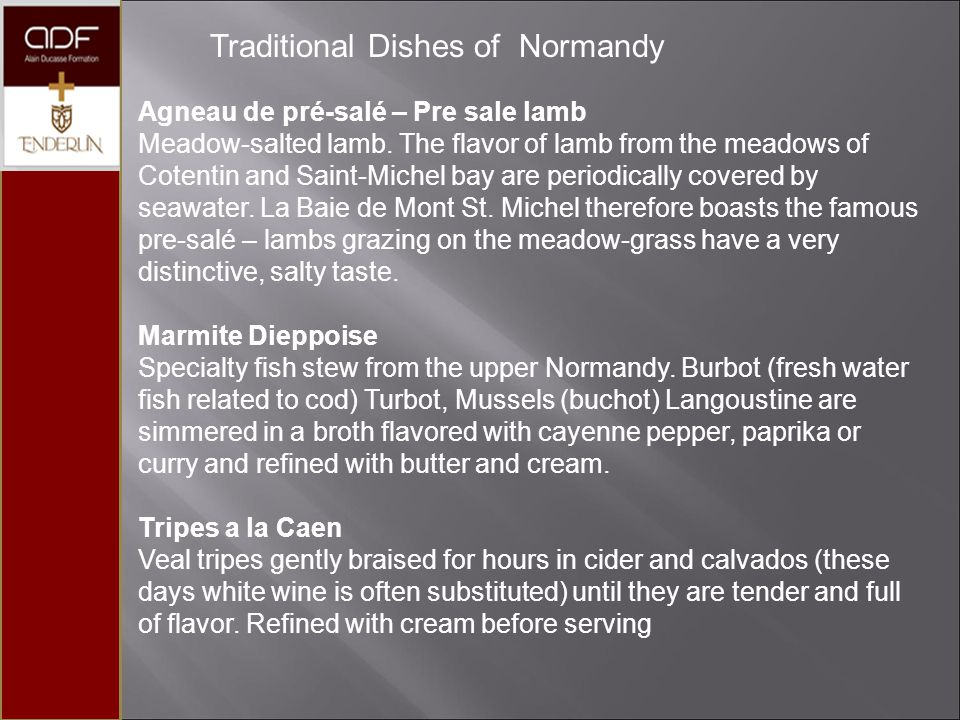 Traditional Dishes of Normandy